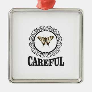 careful circle metal ornament