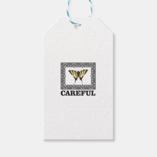 careful yellow butterfly gift tags