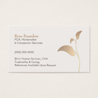 Caregiver and Companion Home Care Nurse Business Card