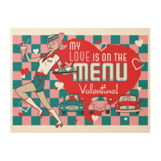 Carhop Retro Drive-In Valentine Wood Sign 24x18