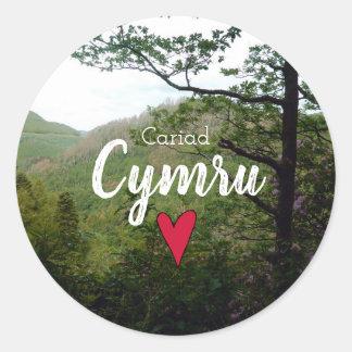 Cariad Cymru Wales Hill Landscape Devils Bridge Classic Round Sticker