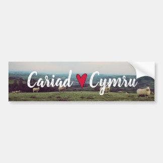 Cariad Cymru Wales Hill Landscape Welsh Sheep Bumper Sticker