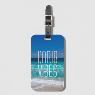 Carib Vibes Tropical Beach Turquoise Water Luggage Tag