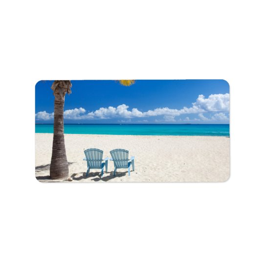 Caribbean beach label