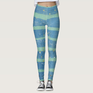 Caribbean blue and green striped leggings