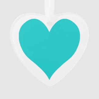 Caribbean Blue Cute Heart Shape Ornament