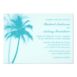 "Caribbean Blue Palm Trees Tropical Wedding 5"" X 7"" Invitation Card"