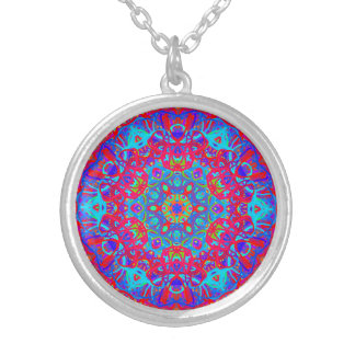 Caribbean Blue Silver Plated Round Necklace