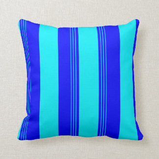 Caribbean Blue Striped & Solid Reversible Pillow