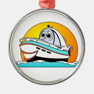 Caribbean Cartoon Motor Boat Metal Ornament