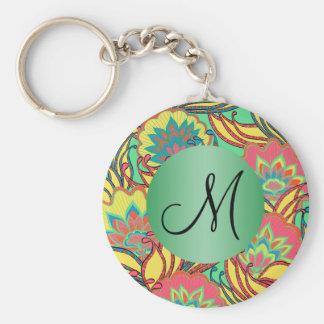 Caribbean Colors Boho Floral Monogrammed Keychain