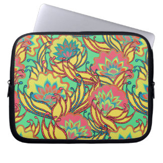 Caribbean Colors Boho Floral Pattern Laptop Sleeve