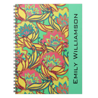 Caribbean Colors Boho Floral Personalized Notebook