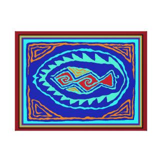 Caribbean Fish Batik Canvas Print