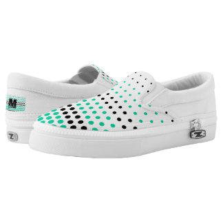 Caribbean Green and Black Polka Dot Slip-On Sneakers