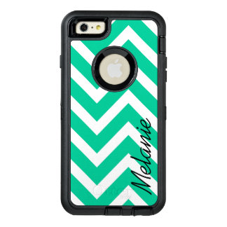 Caribbean Green Chevron Pattern with Monogram OtterBox Defender iPhone Case