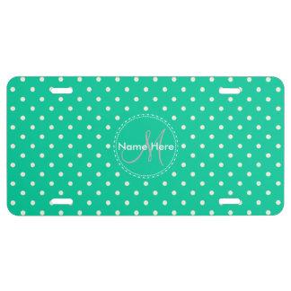 Caribbean Green & White Polka Dots. Custom Name License Plate