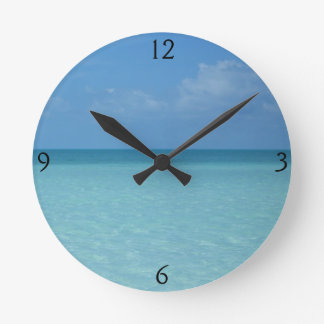 Caribbean Horizon Tropical Turquoise Blue Round Clock
