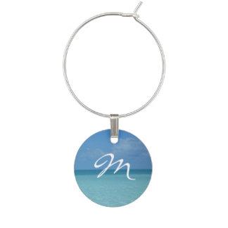 Caribbean Horizon Turquoise Blue Monogram Wine Charm