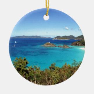 Caribbean Island Scene Ceramic Ornament