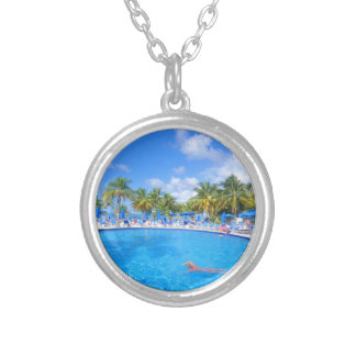 Caribbean islands silver plated necklace