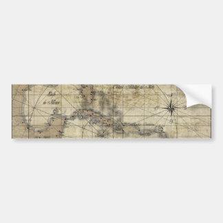 Caribbean - old map bumper sticker