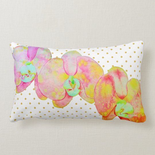 Caribbean Orchids - gold polka dots Lumbar Pillow