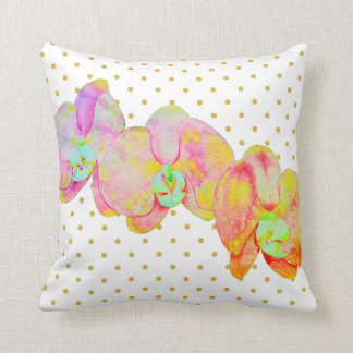 Caribbean Orchids - gold polka dots Throw Pillow