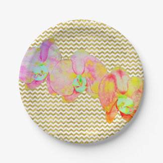 Caribbean Orchids with gold zig-zag 7 Inch Paper Plate