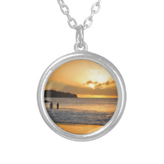 Caribbean paradise silver plated necklace