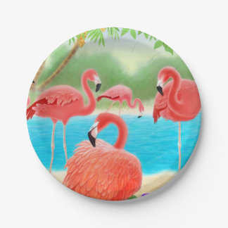 Caribbean Pink Flamingo Birds Paper Plates