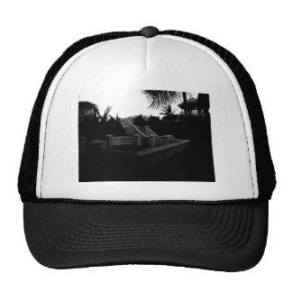 Caribbean Resort Black and White Trucker Hat