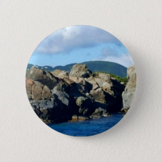 Caribbean Rocky Barrier St. Thomas Landscape 2 Inch Round Button