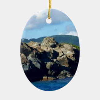 Caribbean Rocky Barrier St. Thomas Landscape Ceramic Oval Ornament