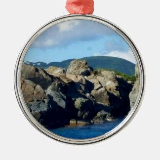 Caribbean Rocky Barrier St. Thomas Landscape Metal Ornament
