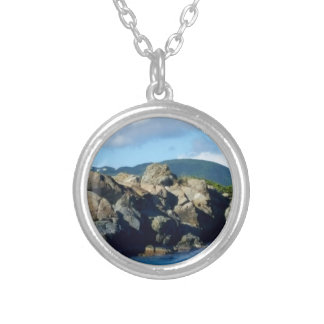 Caribbean Rocky Barrier St. Thomas Landscape Silver Plated Necklace
