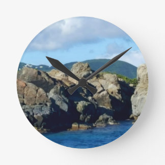 Caribbean Rocky Barrier St. Thomas Landscape Wallclocks