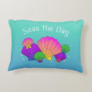 Caribbean Sea Shells and Bubbles Accent Pillow