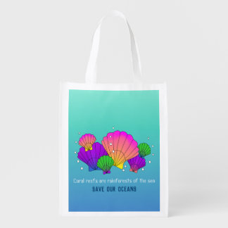 Caribbean Sea Shells and Bubbles, Save our Oceans Reusable Grocery Bag
