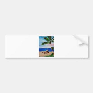 Caribbean Strand with Beach Chairs Bumper Sticker