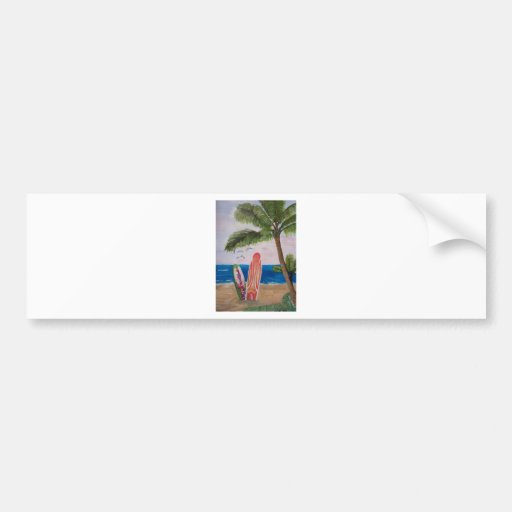 Caribbean Strand with Surf Boards Bumper Stickers