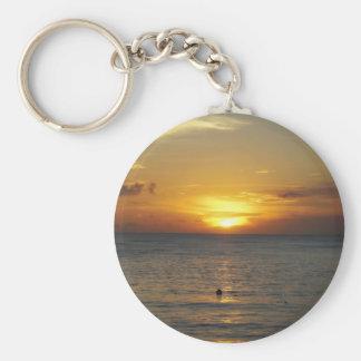 Caribbean Sunrise Basic Round Button Keychain
