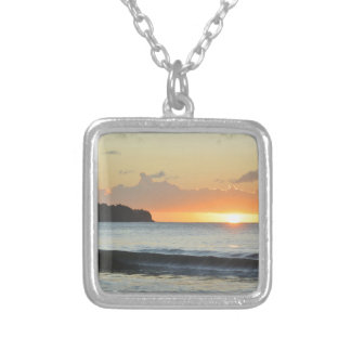 Caribbean sunset silver plated necklace