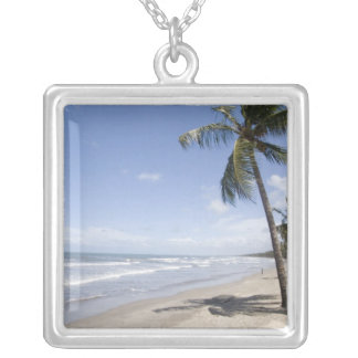 Caribbean - Trinidad - Manzanilla Beach on 2 Square Pendant Necklace