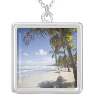 Caribbean - Trinidad - Manzanilla Beach on Square Pendant Necklace