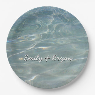 Caribbean Water Abstract Blue Nature Paper Plate