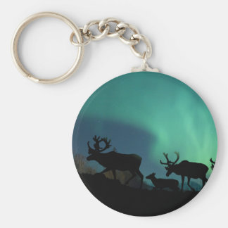 Caribou and Northern Lights Keychain