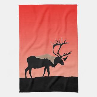Caribou at Sunset  - Original Wildlife Art Kitchen Towel