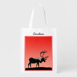 Caribou at Sunset  - Original Wildlife Art Reusable Grocery Bag
