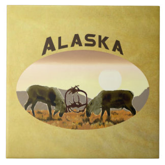 Caribou Duel - Alaska Ceramic Tiles